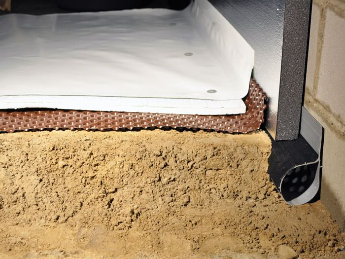 Crawl E Encapsulation System With Drainage Matting For Flooded Es Sunburst Insulation Being Installed