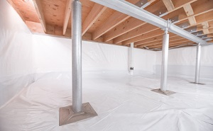 Crawl space structural support jacks installed in Malta