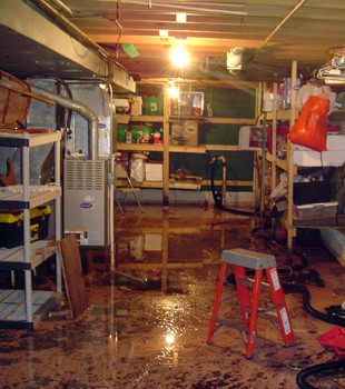a flooded home in Gildford