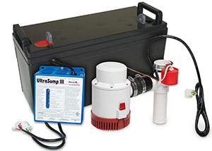 a battery backup sump pump system in Turner