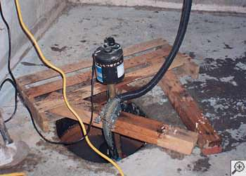 A Kremlin sump pump system that failed and lead to a basement flood.