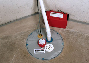 A sump pump system with a battery backup system installed in Hogeland