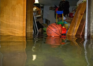 A flooded basement bedroom in Shelby