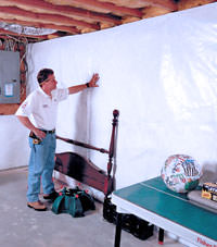 Plastic 20-mil vapor barrier for dirt basements, Rudyard, Montana installation